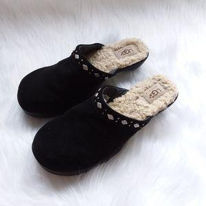 UGG Black Suede Studded Slip-On Clogs